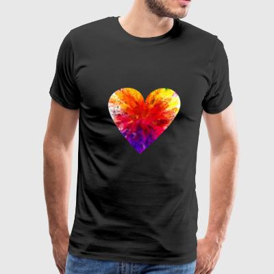 PIXEL RAINBOW HEART - Men's Premium T-Shirt