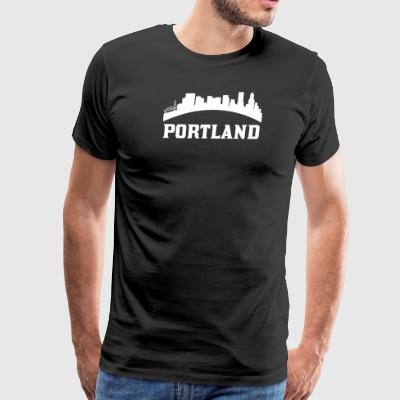 Vintage Style Skyline Of Portland OR - Men's Premium T-Shirt