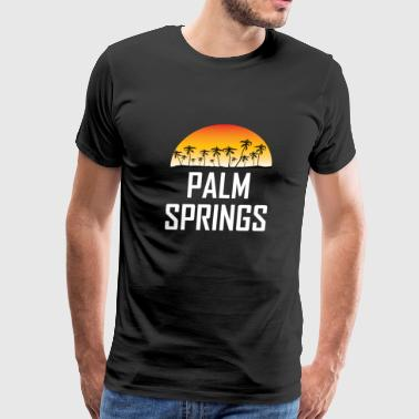 Palm Springs Sunset And Palm Trees Beach - Men's Premium T-Shirt
