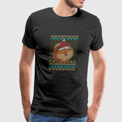 Dwarf pointed Pomeranian Ugly Christmas Sweater pr - Men's Premium T-Shirt