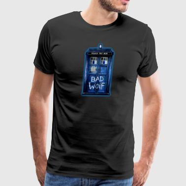 Blue Phone booth graffitii - Men's Premium T-Shirt
