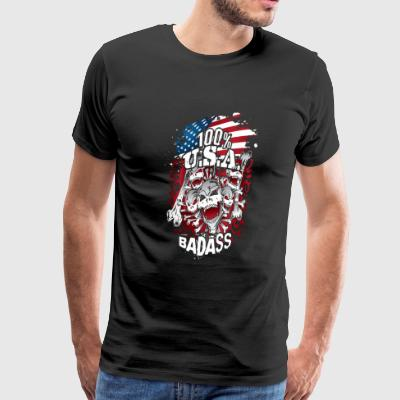 USA Flag Skulls Bones - Men's Premium T-Shirt