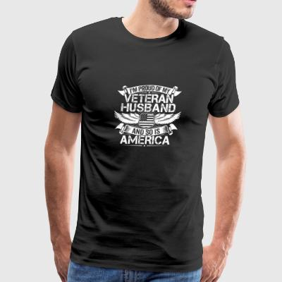 Veteran Husband Support Proud Wife Spouse Gift - Men's Premium T-Shirt