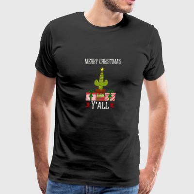 Merry Christmas Y'All Cactus Christmas Tree Design - Men's Premium T-Shirt