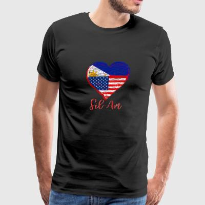 Filipino American Heart & Flag - Fil-Am - Men's Premium T-Shirt