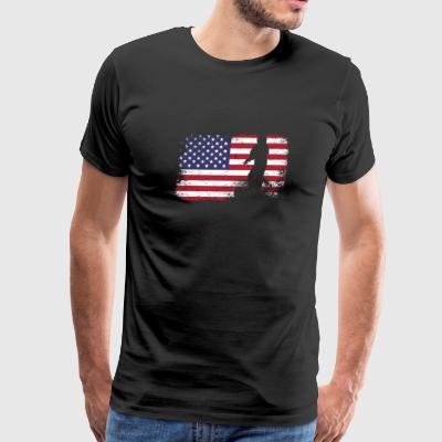 american flag fishing - Men's Premium T-Shirt