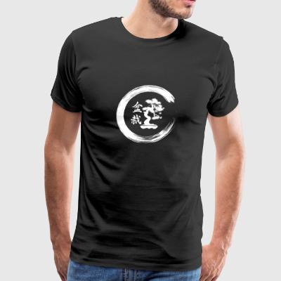 Bonsai Tree in Enso Circle Japanese Zen T-Shirt - Men's Premium T-Shirt