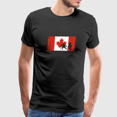 Canadian flag hockey long sleeve T-Shirt - Men's Premium T-Shirt