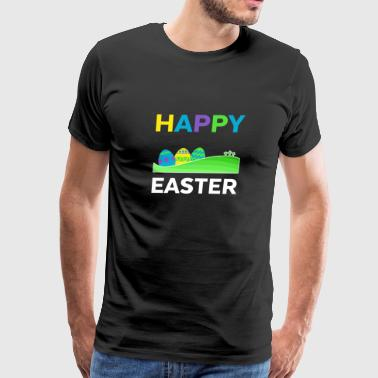 Happy Easter With Eggs And Crosses Pascha Holiday - Men's Premium T-Shirt