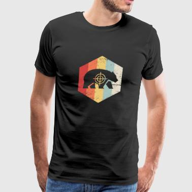 Retro 70s Bear Hunter Icon - Men's Premium T-Shirt