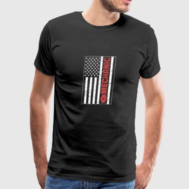 Retro American Flag Car Mechanic - Men's Premium T-Shirt