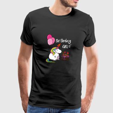 Unicorn cake T-shirt. Birthday girl shirt - Men's Premium T-Shirt