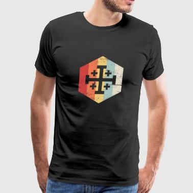 Retro Templar Cross Of Jerusalem Icon - Men's Premium T-Shirt