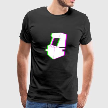 Retro Glitch Arcade Machine - Men's Premium T-Shirt