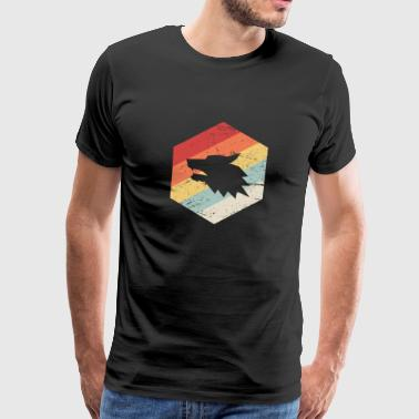 Retro 70s Wolf Icon - Men's Premium T-Shirt