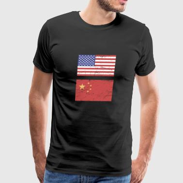 United States Flag & China Flag - Men's Premium T-Shirt