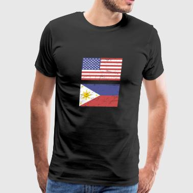 United States Flag & Philippines Flag - Men's Premium T-Shirt