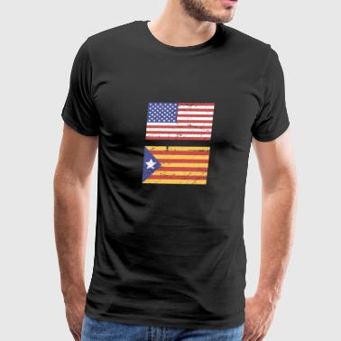 United States Flag & Catalonia Flag - Men's Premium T-Shirt