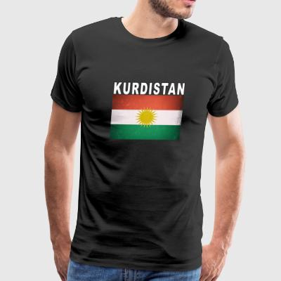 Kurdish Flag Kurdistan Independence Distressed - Men's Premium T-Shirt