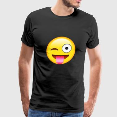 Face With Stuck out Tongue and winking Eye E-moji - Men's Premium T-Shirt