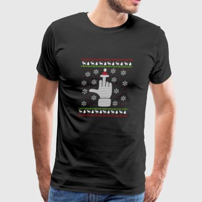 Middlefinger Santa Ugly Christmas Sweater Gift - Men's Premium T-Shirt