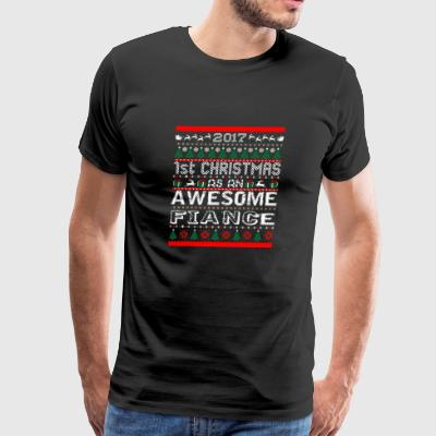 2017 First Christmas Awesome Fiance Ugly Sweater - Men's Premium T-Shirt