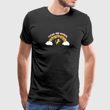 Tacos Are Magical Tacos On Rainbow With Unicorn - Men's Premium T-Shirt
