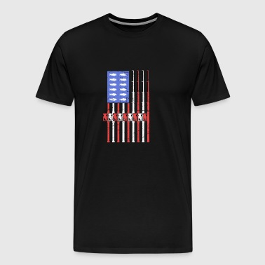 Bass Fishing American Flag - Men's Premium T-Shirt