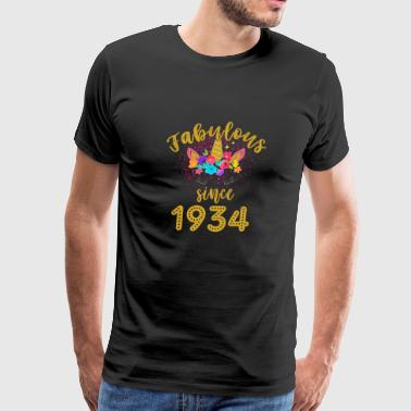 Fabulous Unicorn Birthday Shirt Old BDay Since 1934 funny shirts gifts - Men's Premium T-Shirt