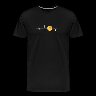 Dogecoin Heartbeat Line- Blockchain Cryptocurrency - Men's Premium T-Shirt