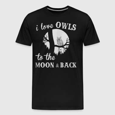I love Owls to the moon and back - Men's Premium T-Shirt