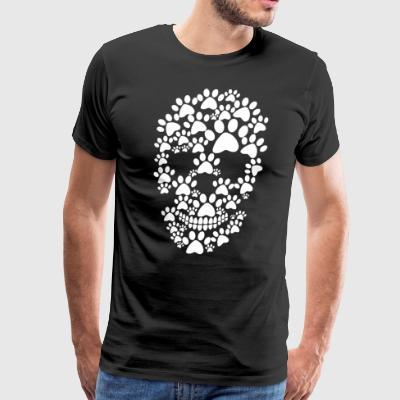 Paw dog prints skull - Men's Premium T-Shirt
