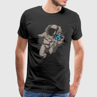 Astronaut With Globe Galaxy Spaceship Outer Space - Men's Premium T-Shirt