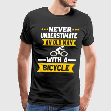 Never Underestimate an Old Man with a bicycle - Men's Premium T-Shirt