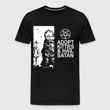 adopt kitties and hail satan jesus t shirts - Men's Premium T-Shirt