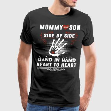 Mommy and son side by side hand in hand heart to h - Men's Premium T-Shirt
