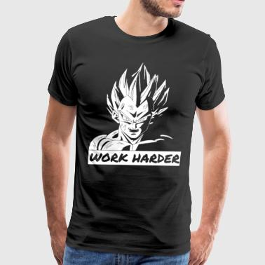 Work Harder Motivational Dragon Ball Z Vegeta Dbz - Men's Premium T-Shirt