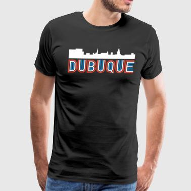 Red White Blue Dubuque Iowa Skyline - Men's Premium T-Shirt