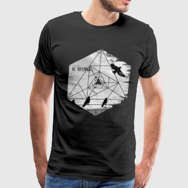 Be Different. Flying Raven Inspirational Hexagon - Men's Premium T-Shirt