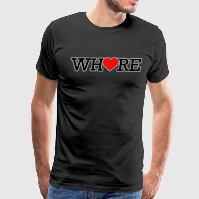 Whore Black Print White Shadow Heart - Men's Premium T-Shirt