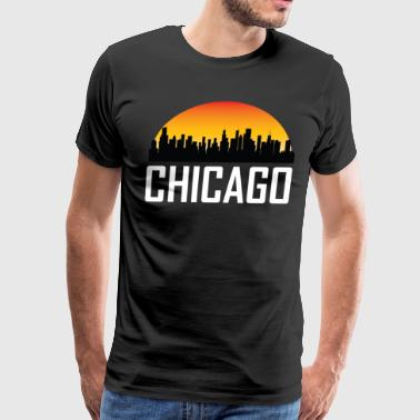 Sunset Skyline Silhouette of Chicago IL - Men's Premium T-Shirt