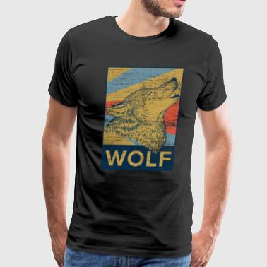 Wolf rectangle color gift moon forest rights - Men's Premium T-Shirt