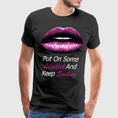 Pink lips (white) - Men's Premium T-Shirt