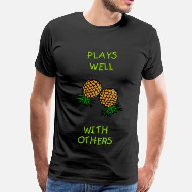 Upside Down Pineapple Swinger pineapples - Men's Premium T-Shirt