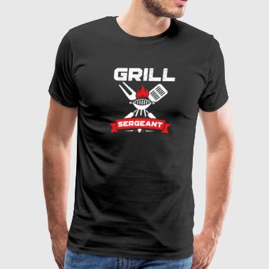 Grill Sergeant BBQ Grilling Father's Day Red - Men's Premium T-Shirt