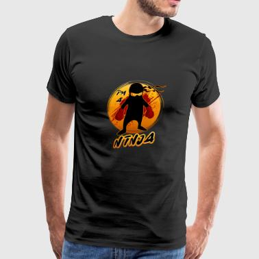 Black Ninja Fighter with boxing gloves - Men's Premium T-Shirt