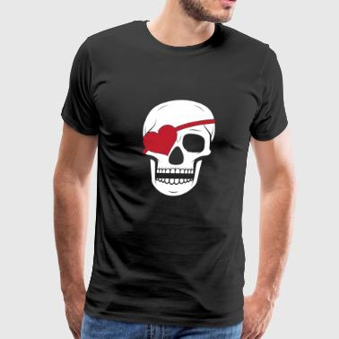 Valentines Day Pirate Skull Heart Eye Patch - Men's Premium T-Shirt