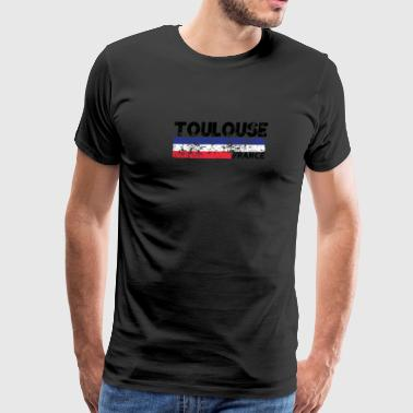 Toulouse France Flag Distressed Tricolor French - Men's Premium T-Shirt