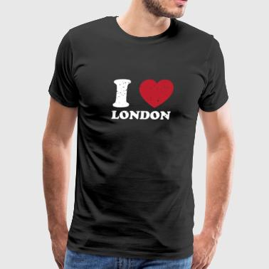 I Love London Great Britain Cute Vintage Heart - Men's Premium T-Shirt