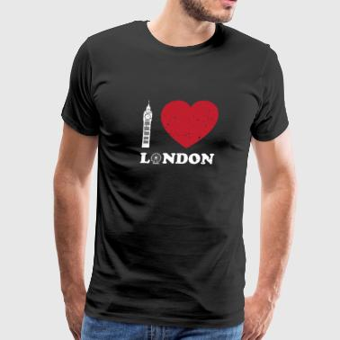 I Love London - Big Ben And Ferris Wheel Great - Men's Premium T-Shirt